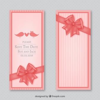 Zaproszenie na ślub z kokardą różowy