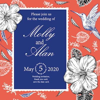 Zaproszenie na ślub z kolibry i tropikalne kwiaty
