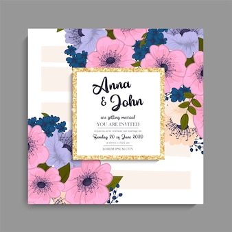 Zaproszenie na ślub z kolorowy kwiat.