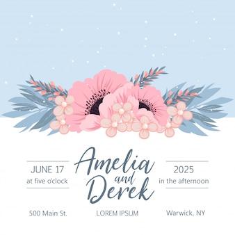 Zaproszenie na ślub z kolorowym kwiatem.