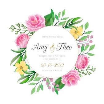 Zaproszenie na ślub z kolorowymi kwiatami akwarela