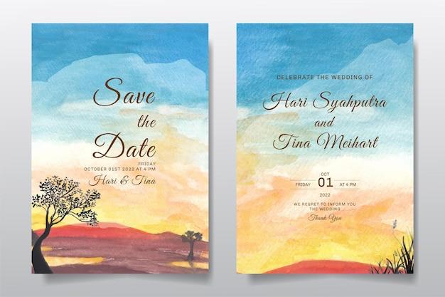 Zaproszenie na ślub z krajobrazowym niebem i wzgórzem akwarela