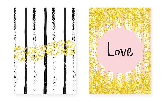 Zaproszenie na ślub z kropkami i cekinami. kartki na prysznic dla nowożeńców ze złotym brokatowym konfetti. pionowe paski tła. stylowe zaproszenie na ślub na imprezę, imprezę, zapisz ulotkę z datą.