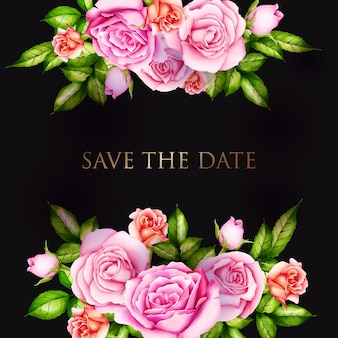 Zaproszenie na ślub z kwiatami akwarela