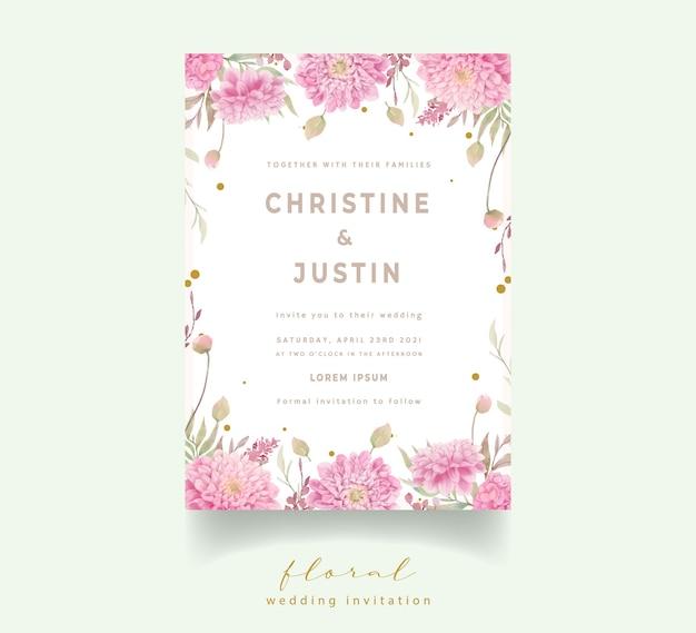 Zaproszenie na ślub z kwiatami dalii akwarela