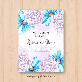 Zaproszenie na ślub z kwiatami dość akwarela
