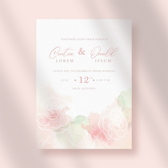 Zaproszenie na ślub z kwiatami splash i grafik