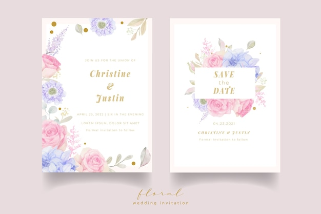 Zaproszenie na ślub z kwiatami w akwarela