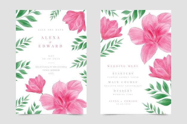 Zaproszenie na ślub z kwiatami