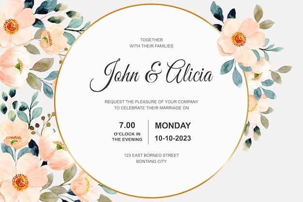Zaproszenie na ślub z kwiatem akwareli