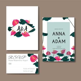 Zaproszenie na ślub z kwiatem anthurium różowy