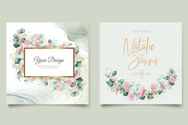 Zaproszenie na ślub z kwiatem eukaliptusa