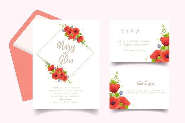Zaproszenie na ślub z kwiatów czerwonych kwiatów maku