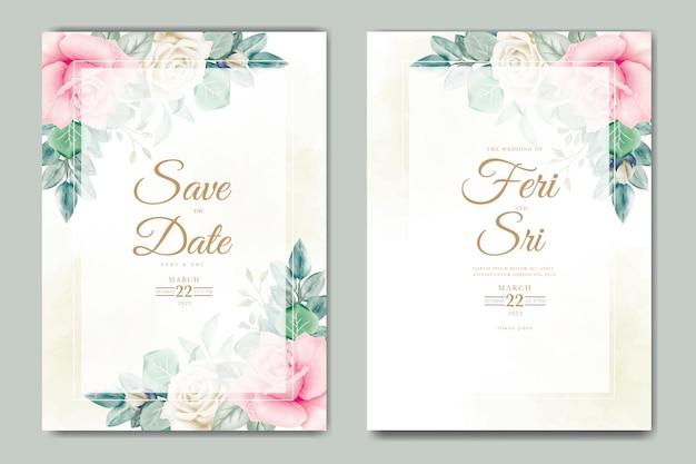 Zaproszenie na ślub z kwiatową akwarelą