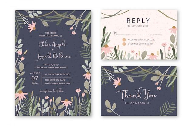 Zaproszenie na ślub z kwiatowym ogrodem
