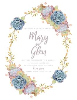 Zaproszenie na ślub z kwiatowym sukulentem