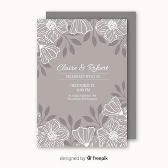 Zaproszenie na ślub z kwiatowymi elementami