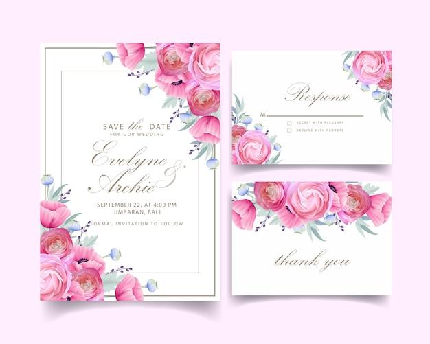 Zaproszenie na ślub z kwiatowymi kwiatami ranunculus i makiem