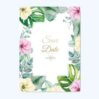 Zaproszenie na ślub z kwiatowymi liśćmi akwarela