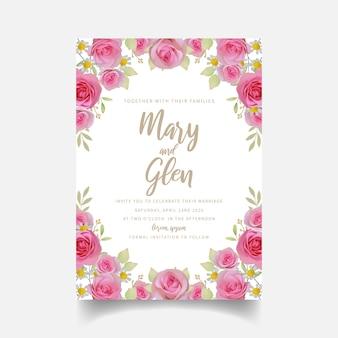 Zaproszenie na ślub z kwiatowymi różowymi kwiatami róży