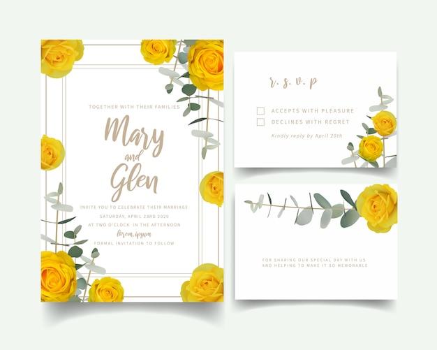 Zaproszenie na ślub z kwiatowymi żółtymi różami