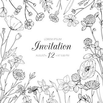 Zaproszenie na ślub z letnich kwiatów dzikiej łące. karta kwiatowy szkic retro wiosna wektor