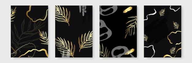 Zaproszenie na ślub z liści, złoty, czarny szablon, projekt artystyczny okładki, kolorowe tekstury, nowoczesne tła. modny wzór, graficzna broszura złota. ilustracja wektorowa luksus