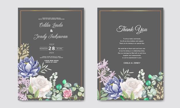 Zaproszenie na ślub z luksusu i piękna kwiatowy