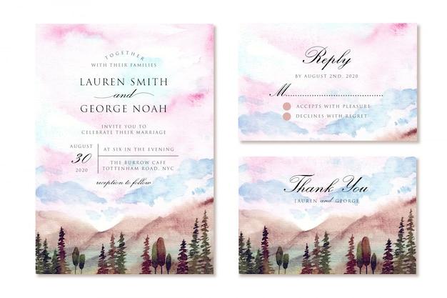 Zaproszenie na ślub z marzycielskim niebem i górskim krajobrazem akwarela
