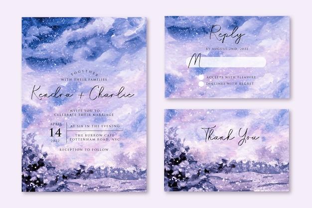 Zaproszenie na ślub z marzycielskim zimowym akwarelą