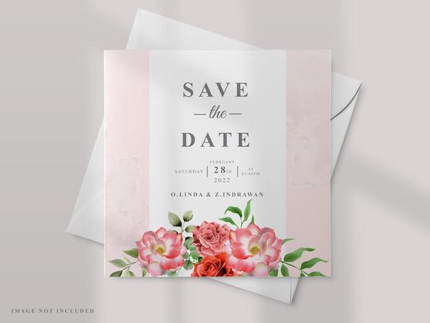 Zaproszenie Na ślub Z Motywem Czerwonej Róży Premium Wektorów