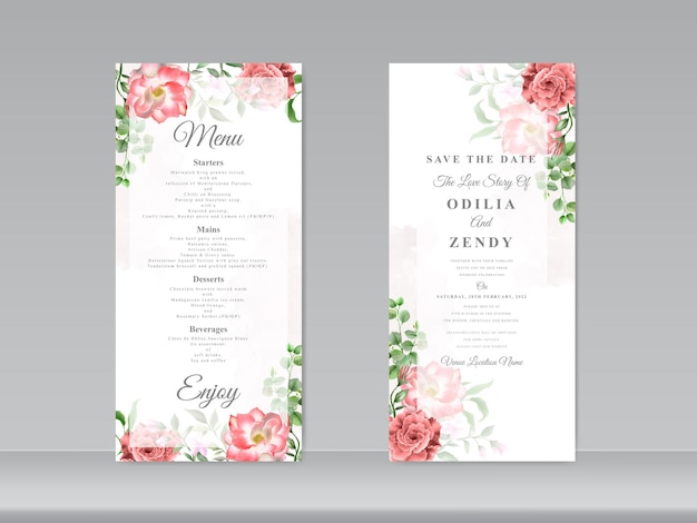 Zaproszenie na ślub z motywem czerwonej róży