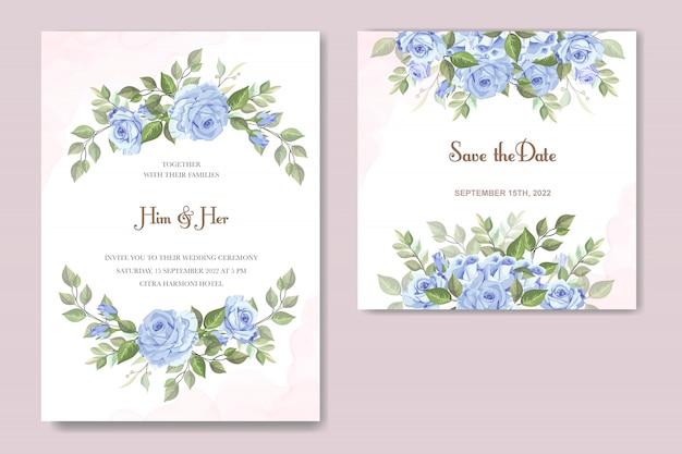 Zaproszenie na ślub z niebieską różą