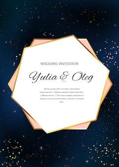 Zaproszenie na ślub z nocnym niebem i gwiazdami w tle.