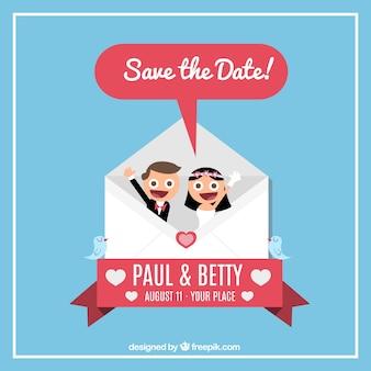 Zaproszenie na ślub z oblubienicy i oczyszczenie wewnątrz koperty