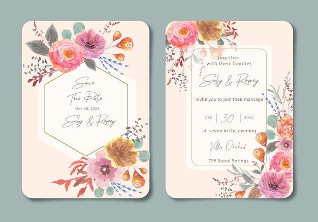Zaproszenie na ślub z pastelową kwiatową akwarelą w ogrodzie