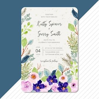 Zaproszenie na ślub z piękną akwarelą kwiat