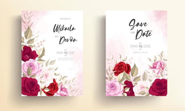 Zaproszenie na ślub z piękną bordową dekoracją kwiatową