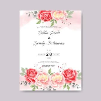 Zaproszenie na ślub z piękną i zieloną roślinnością kwiatową
