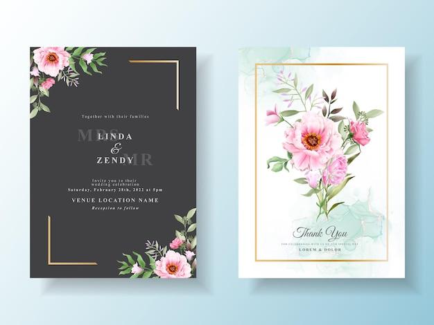 Zaproszenie Na ślub Z Piękną Kwiecistą Akwarelą Premium Wektorów