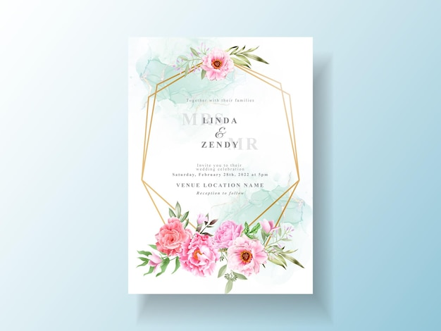 Zaproszenie na ślub z piękną kwiecistą akwarelą
