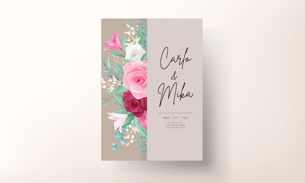 Zaproszenie na ślub z piękną kwitnącą lilią i kwiatem róży