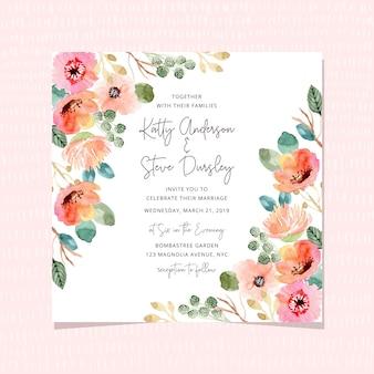 Zaproszenie na ślub z piękną ramą kwiatowy akwarela