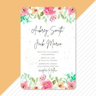 Zaproszenie na ślub z piękną ramą kwiatu akwarela