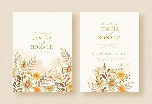 Zaproszenie na ślub z pięknem kwiatowym malarstwo akwarela tło