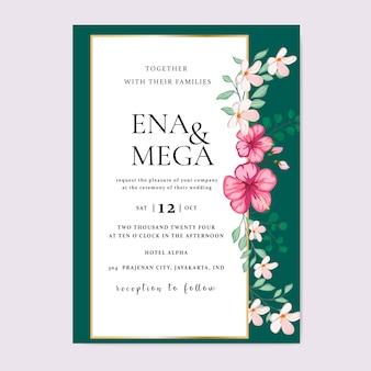 Zaproszenie na ślub z pięknych kwiatów liści