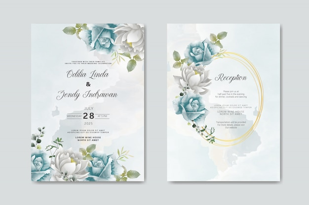 Zaproszenie na ślub z pięknym i eleganckim kwiatowym wzorem