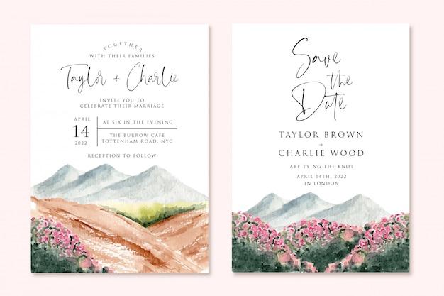 Zaproszenie na ślub z pięknym krajobrazem górskiej akwareli