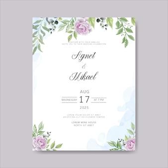 Zaproszenie na ślub z pięknym kwiatem i liśćmi