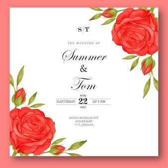 Zaproszenie na ślub z pięknym kwiatowym akwareli